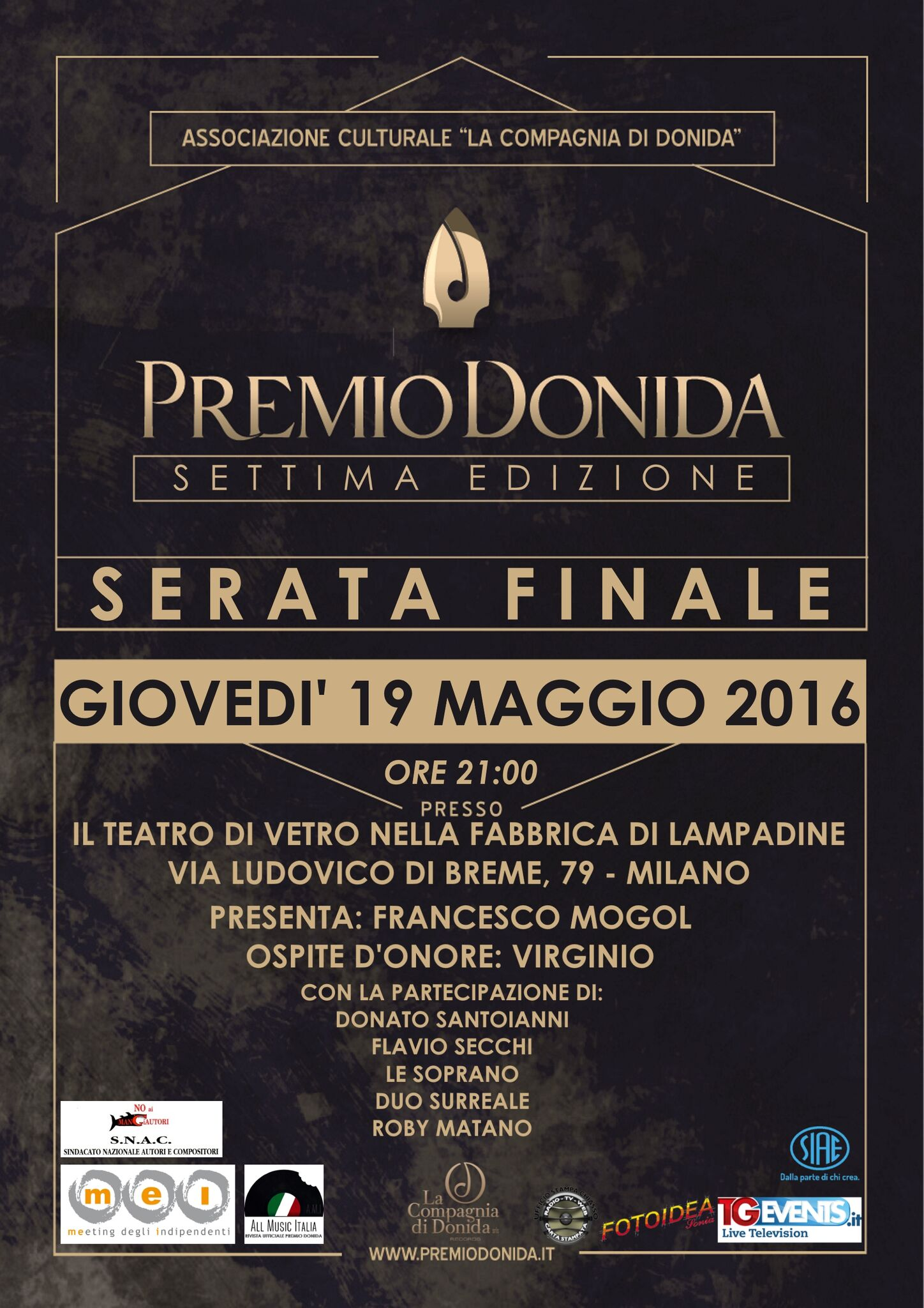PREMIO DONIDA: gran finale il 19 maggio a milano con VIRGINIO, DONATO SANTOIANNI, FLAVIO SECCHI e LE...