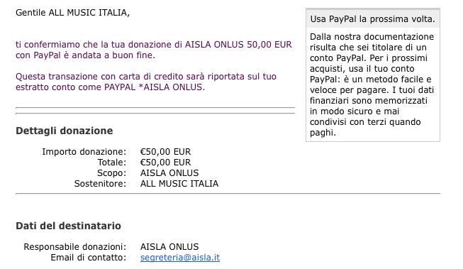 Donazione Aisla All Music Italia